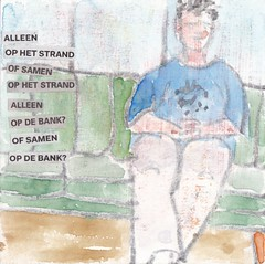 # 192 (10-07-2016) (h e r m a n) Tags: herman illustratie tekening bock oosterhout zwembad 10x10cm 3651tekenevent tegeltje drawing illustration karton carton cardboard love liefde bank strand beach couch