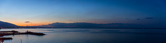 Sunset down from Mount Olympus (RCARCARCA) Tags: panorama blue platamonas silhouette sunset orange mountolympus sea mountains 5diii greece 2016 canon 2470l clouds