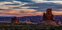 Red Rock Dusk (djryan78) Tags: grass rock utah landscape sunset archesnationalpark cloudy nationalpark outdoor moab redrock 24105 clouds 6d summer grandcounty erosion travel arches dslr canon6d sky canon sigma24105 sigma dusk evening