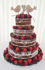 Naked berry cake (CarolinesCelebrationCakes) Tags: wedding summer bird fruits cake naked strawberries raspberries blueberries topper