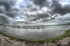 Boats and Clouds (Glenn Heckman) Tags: boats hdr 12mm rokinon nikon d750 tripod multipleexposures pier docks clouds moodyskies queensny nyc stormy summerheat