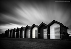 Blyth Beach Huts (Damon Finlay) Tags: longexposure 2 england blackandwhite white black beach monochrome silver seaside big nikon long exposure huts collection northumberland northumbria lee d750 pro nik nikkor beachhuts f4 stopper blyth greatbritishseaside 1635mm efex leebigstopper nikkor1635mmf4 silverefexpro2 nikcollection nikond750