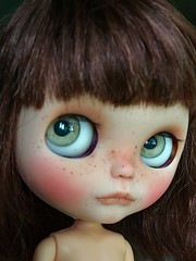 Duffy - WIP (Chassy Cat) Tags: blythe chassycat custom doll freckles takara ooak wip puppelina eye chips eyechips