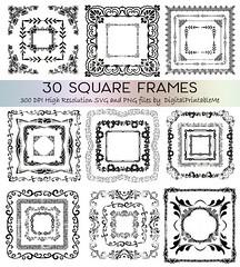Frame Clip Art Set, Border 30 Images, Square, Pack, Instant... (artforahome) Tags: blog fancy frames borders border clip art clipart frame pack scrapbook digital ownload