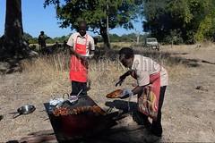 10075457 (wolfgangkaehler) Tags: africa travel people cooking breakfast tomato person bacon potatoes bush african sausage safari potato zambia chefs fritters southernafrica 2016 zambian southluangwanationalpark