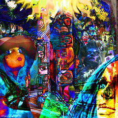 All eyes raised to Wi (Lemon~art) Tags: sun mannequins faces manipulation totem photomontage poles totempoles nativeamericans