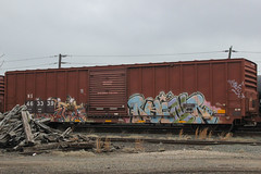 Ruinr (NJphotograffer) Tags: graffiti graff trackside track railroad rail art freight train bench benching boxcar box car ruinr moms crew