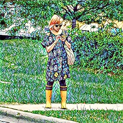 Yellow rainboots (Renee Rendler-Kaplan) Tags: she summer field sunglasses female bag outside outdoors colorful dress boots july busstop sidewalk smartphone there greenery summertime curb pinkhair consumerist texting iphone rainboots chicagoist 2016 chicagoreader caughtmyeye frommycarwindow yellowrainboots skokieillinois iphoneography reneerendlerkaplan oaktonstreet processedwithprisma