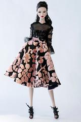 Sheer meets velvet . (V. JHON DOLL) Tags: fashion royalty vjhon ayumi velvet sheer top sequin ruffle circle skirt round boots