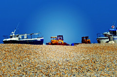 It's like a heatwave... (The Landscape Motorcyclist) Tags: hot heatwave beach boats birds pebbles nikon df fx 80200 tractors diggers dungeness kinhot mrbluesky
