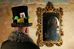 The Transient Desire to Return to Wonderland (Studio d'Xavier) Tags: werehere lifethroughthelookingglass aliceinwonderland alice madhatter lookingglass thetransientdesiretoreturntowonderland 365 august242016 237366 mirror reflection