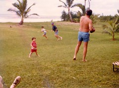 Dad Going out for a Pass - c1983 (kimstrezz) Tags: 1983 familytriptohawaiic1983 hanaleibay kauai michael dad unclebob bert