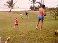 Dad Going out for a Pass - c1983 (kimstrezz) Tags: 1983 familytriptohawaiic1983 hanaleibay kauai michael dad unclebob bert