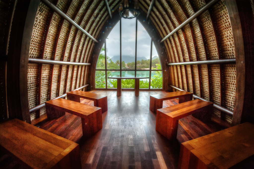 Aherenoa Chapel Bora Bora, strategically built with a picturesque view of Mt. Otemanu.