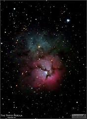 Messier 20  The Trifid Nebula of Sagittarius (Tom Wildoner) Tags: tomwildoner leisurelyscientistcom leisurelyscientist m20 trifidnebula trifid nebula sagittarius constellation milkyway red blue emission astronomy astrophotography astronomer canon canon6d meade lx90 celestron stacking dss stars glow space science july 2016 reflection astrometrydotnet:id=nova1666873 astrometrydotnet:status=solved