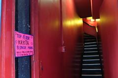 No Thanks! (sgreen757) Tags: krista brothel soho chinatown london street fuji fujifilm x30 red light stairs working girl prostitute sign