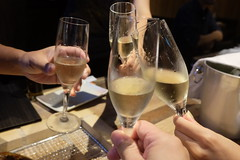 PERRIER-JOUET BELLE EPOQUE (HAMACHI!) Tags: tokyo bbq 2016 japan food  zenibakobbq hokkaido ginza shinbashi charcoalgrill dinner pub champagne drink fujifilmx70 fujifilmx x70