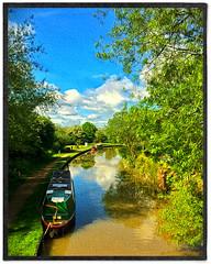 Day 267 of 366 - The Canal Side! (editsbyjon) Tags: photoborder phototoaster picsart snapseed handyphoto cameraawesome iphoneography iphone365 iphone painterly narrowboat trees water serene canal outdoor