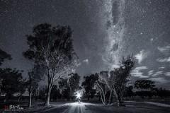 The Dark Road. (Bill Thoo) Tags: blackandwhite thedarkroad milkyway longexposure sony a7rii ngc samyang 14mm obley nsw australia night astrophotography landscape monochrome travel stars explorer