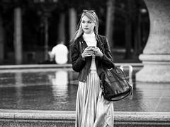 (graveur8x) Tags: candid street portrait woman girl frankfurt germany beautiful dof water people outside blackandwhite bw deutschland strase streetphotography schwarzweis waiting mobilephone style blond olympus olympusem10markii olympusm75mmf18 75mm