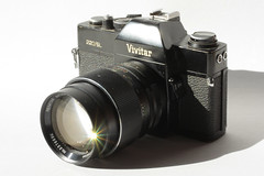 Auction Find 03292015 (Orange Barn) Tags: camera shadow sunlight lens filmcamera vivitar sunflare vivitarfilmcamera 115picturesin2015