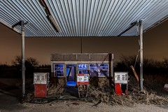 Abandoned gas station. (GnarlyRelics) Tags: longexposure usa lightpainting abandoned ice broken glass overgrown station night america dark lights weeds nikon long exposure texas fort decay empty tx urbandecay country over gas tokina pump explore urbanexploration worth dfw exploration ruraldecay fortworth fuel grown urbex vandalized rurex d7100 1116mm texploration