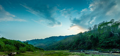 Mountains And sky (Junayet Yum) Tags: blue sunset sky mountain nature clouds river landscape nikon dusk blu nat lan greenery ban bangladesh bandarban paranoma remakri