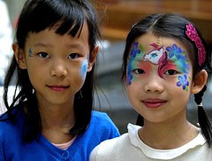 Painted Faces (Irene, W. Van. BC) Tags: people portraits easter facepainting faces teens coquitlam allpeople preteens paintedfaces teenyboppers coquitlammall easterscenes allportraits easterscenesmall hendersonplacecoquitlambc