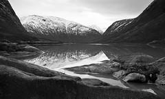Glacial lake (CNorthExplores) Tags: travel bw lake mountains reflection monochrome norway luster sognogfjordane nigardsbrevatnet
