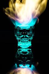 Crystal Head - Fire (MorboKat) Tags: longexposure reflection glass fire skull burning flame reflect burn alcohol shotglass crystalskull crystalheadvodka crystalhead
