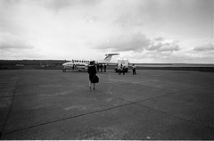 Going Home (Way Out West Photography) Tags: bw film analog orkney mainland airport beechcraft bergenair leica leicam3 elmarit 21mm