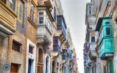 Valletta Balconies (1) (Michael N Hayes) Tags: malta valletta mediterranean europe balcony summer fujifilmxpro1 sea culture city