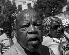 Congressman John Lewis, 2016 (Alan Barr) Tags: johnlewis congress congressman philadelphia 2016 demonstration protest democraticnationalconvention dnc portrait street sp streetphotography streetphoto blackandwhite bw blackwhite mono monochrome candid people panasonic gx8 lumix