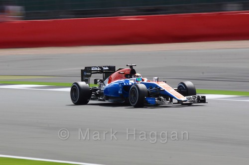 Pascal Wehrlein in his Manor during Free Practice 2 for the 2016 British Grand Prix