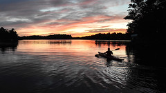 Sunset paddle (PJMixer) Tags: friends nikon ontario summer clouds cottage cottagecountry family kayak lake reflection sky sunset trees