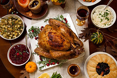 47018883_s (markbrodsky@rogers.com) Tags: turkey rustic roasted dinner thanksgiving garnish cranberries pumpkins gourds asparagus brusselsprouts vegetables pie flowers candles herbs fall harvest table red wine sidedishes gravy decoration cranberryrelish meat garnished food cooked gourmet meal organic poultry stuffing traditional season delicious nobody baked rosemary tray holiday drinks salad bread squash feast