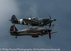 Hurricane & Spitfire (Philip Pound Photography) Tags: sky plane war skies fighter aircraft hurricane wwii ww2 spitfire vb propeller mk hawker secondworldwar battleofbritain bbmf ab9 ddaystripes