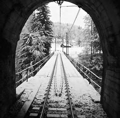 Snowy rail tunnel (somabiswas) Tags: snow switzerland frozen swiss tracks railway tunnels vaud