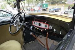 Renault, Monaquatre YN (France, 1936) (Cletus Awreetus) Tags: france renault monaquatre véhiculeancien vintage voituredecollection berline jaune noir voiture collection tableaudebord dashboard intérieurdevoiture carinterior volant cadran levier