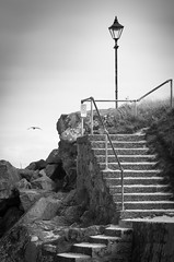 St Ives beach steps 01 aug 16 (Shaun the grime lover) Tags: cornwall stives steps beach concrete lamp monochrome seashore stairway porthgwidden