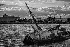 221/366 Sarsia (crezzy1976) Tags: nikon d3100 crezzy1976 photographybyneilcresswell photoaday outdoor sarsia boat wreck sinking water blackandwhite monochrome cloudysky 365 366challenge2016 day221 yahooyourpictures