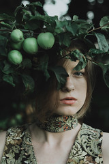 Russian motives (Alina Autumn) Tags: russia art new nature natural vintage girl green light photographer color atmosphere apple hair harmony beaty beautiful outdoor mood portrait forest tree people eyes tenderness love history photo face