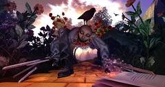 OZ: The Scarecrow (Flit Ulrik // Agent Orange) Tags: secondlife second life sl wizard oz enchantment 22769 bauwerk book cc glinda fx kit egosumaii scarecrow mask female tan cloth fdd stories stone roads yellow brick road lb bouton dor pink field n deadly poppy dusty hut ro remarkable oblivion scissor hands gloves flowers garden crow crows nightmare horror scary scare sky lighting shadows over rainbow sunlight birds landscaping creepy poppies gardening