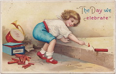 ELLEN CLAPSADDLE c.1908 4TH OF JULY FUN Young Girl in Red Shoes with a BIG BOX OF FIRECRACKERS what could go wrong International Art Card Series 2443 Patriotic Patriotism Theme (UpNorth Memories - Donald (Don) Harrison) Tags: vintage antique postcard rppc don harrison upnorth memories upnorth memories upnorthmemories michigan history heritage travel tourism michigan roadside restaurants cafes motels hotels tourist stops travel trailer parks campgrounds cottages cabins roadside entertainment natural wonders attractions usa puremichigan
