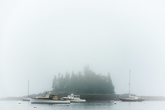 Fogged In (rickhanger) Tags: acadia acadianationalpark acadianp nature nationalpark harbor fog foggy boats landscape ocean oceanfog