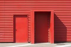 Two red doors (Jan van der Wolf) Tags: map158553v door deur red redrule rood lines lijnen abstract shadow schaduw monochrome monochroom deuren