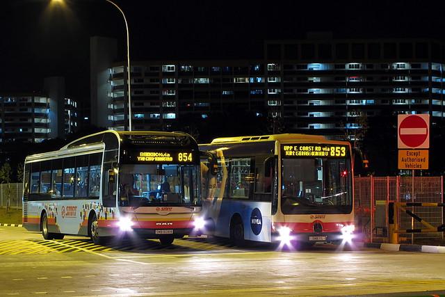 MAN A22 Gemilang-Lions City SMB1608B 854 Mercedes-Benz OC500LE Gemilang SMB7S 853