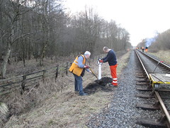 Peter and Andrew install the 11.25 mile post 10Mar15