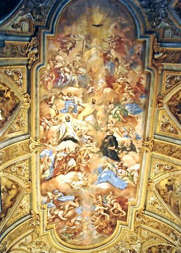 """""""Triumph of Religion on the Heresy. Saint Ignatius, Saint Francis Saverio and Saint Francis Borja"""" - fresco after 1695 by Paolo De Matteis (Orria 1662-Naples 1728) - San Ferdinando Church in Naples"""