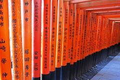 Black & Orange (fred bc) Tags: orange black japan temple kyoto shrine kanji characters symbols pillars shinto fushimiinari taisha canonpowershots95